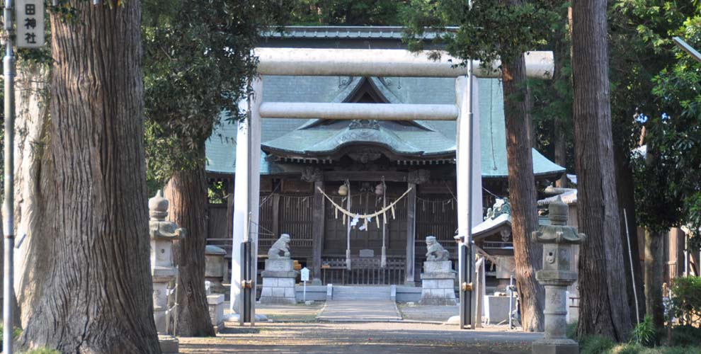 茨城の鹿嶋八幡神社(額田神社)の鳥居と拝殿
